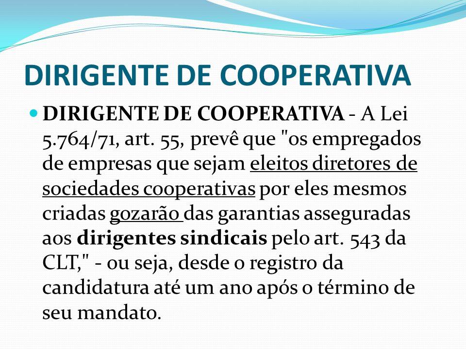 DIRIGENTE SINDICAL Conforme artigo 543, parágrafo 3º da CLT, e artigo 8º da Constituição Federal, não pode ser dispensado do emprego o empregado sindi