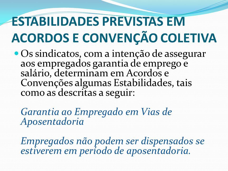 ESTABILIDADES PREVISTAS EM ACORDOS E CONVENÇÃO COLETIVA Sindicatos