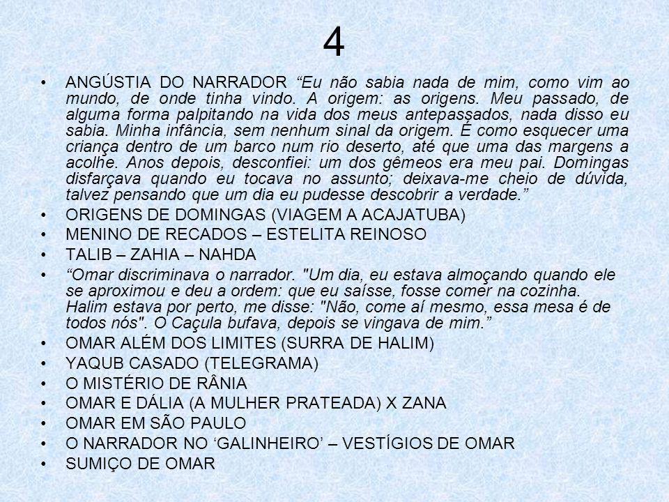 5 VISITA DE YAQUB – PASSEIOS COM O NARRADOR A VERDADE SOBRE OMAR – FUGA PARA OS EUA A AJUDA DE YAQUB MUDANÇA BRUSCA:OMAR EXECUTIVO MÃE-DETETIVE – ZANURI CHICO QUELÉ (WYCKHAM) E PAU-MULATO A PAU-MULATO E A SAÍDA DE OMAR 6 BUSCA INCESSANTE HALIM X AZAZ ADAMOR (PERNA-DE-SAPO) A CASA FLUTUANTE DE OMAR FÚRIA DE OMAR DESABAFO DE HALIM