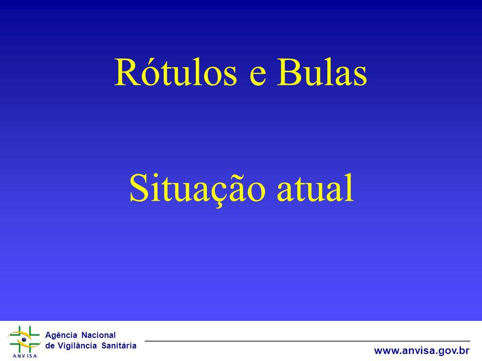 Agência Nacional de Vigilância Sanitária www.anvisa.gov.br Rótulos e Bulas Situação atual