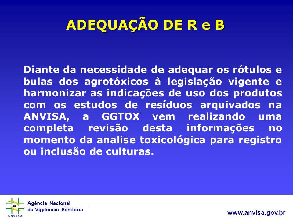 Agência Nacional de Vigilância Sanitária www.anvisa.gov.br ADEQUAÇÃO DE R e B Diante da necessidade de adequar os rótulos e bulas dos agrotóxicos à le
