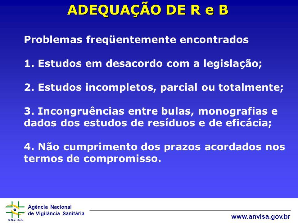 Agência Nacional de Vigilância Sanitária www.anvisa.gov.br ADEQUAÇÃO DE R e B Problemas freqüentemente encontrados 1. Estudos em desacordo com a legis