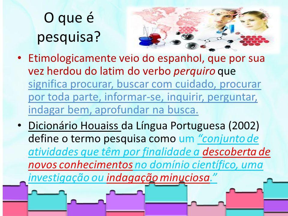 Etimologicamente veio do espanhol, que por sua vez herdou do latim do verbo perquiro que significa procurar, buscar com cuidado, procurar por toda parte, informar-se, inquirir, perguntar, indagar bem, aprofundar na busca.
