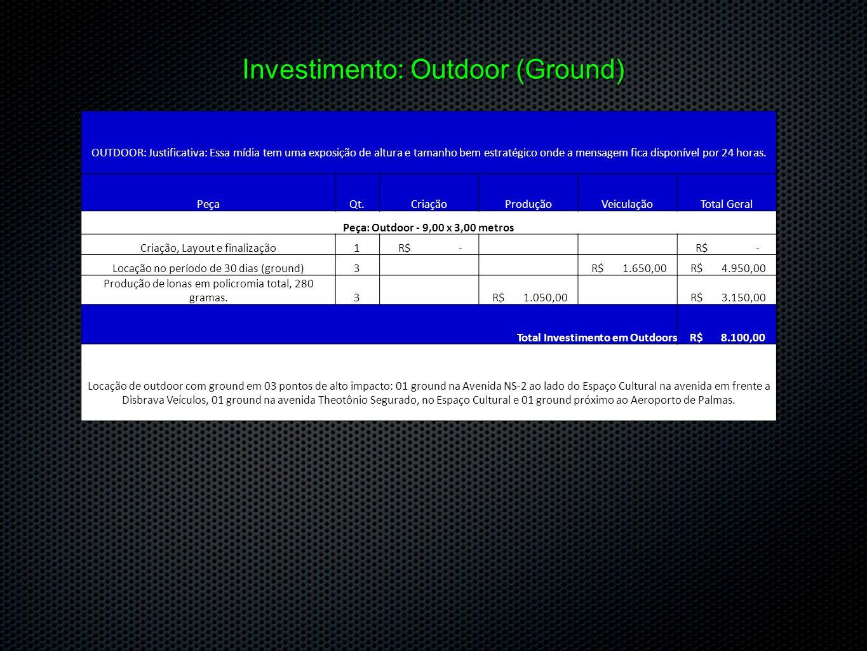 Investimento: Outdoor (Ground) OUTDOOR: Justificativa: Essa mídia tem uma exposição de altura e tamanho bem estratégico onde a mensagem fica disponíve