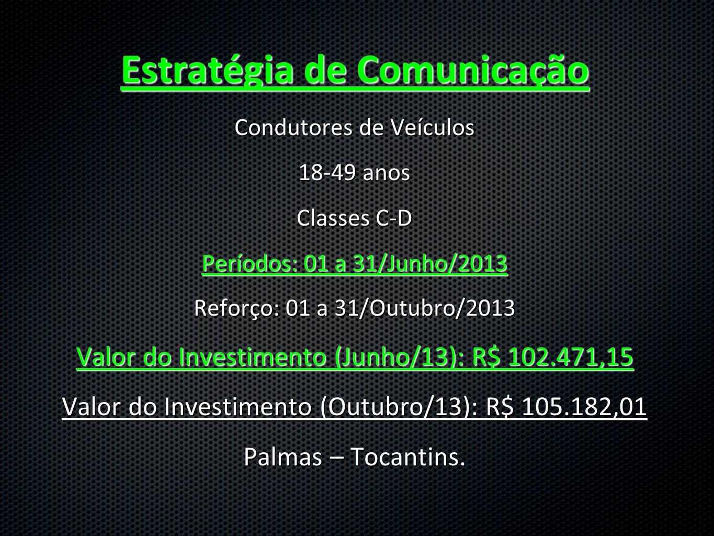 Estratégia de Comunicação Condutores de Veículos 18-49 anos Classes C-D Períodos: 01 a 31/Junho/2013 Reforço: 01 a 31/Outubro/2013 Valor do Investimen