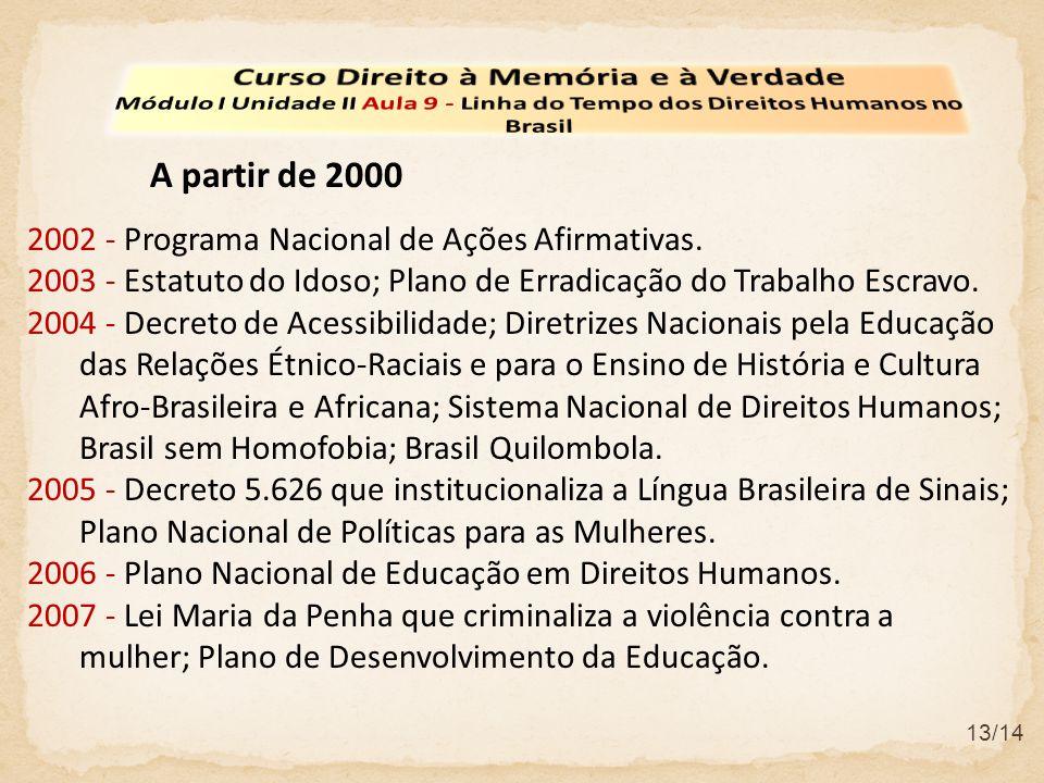 13/14 2002 - Programa Nacional de Ações Afirmativas. 2003 - Estatuto do Idoso; Plano de Erradicação do Trabalho Escravo. 2004 - Decreto de Acessibilid