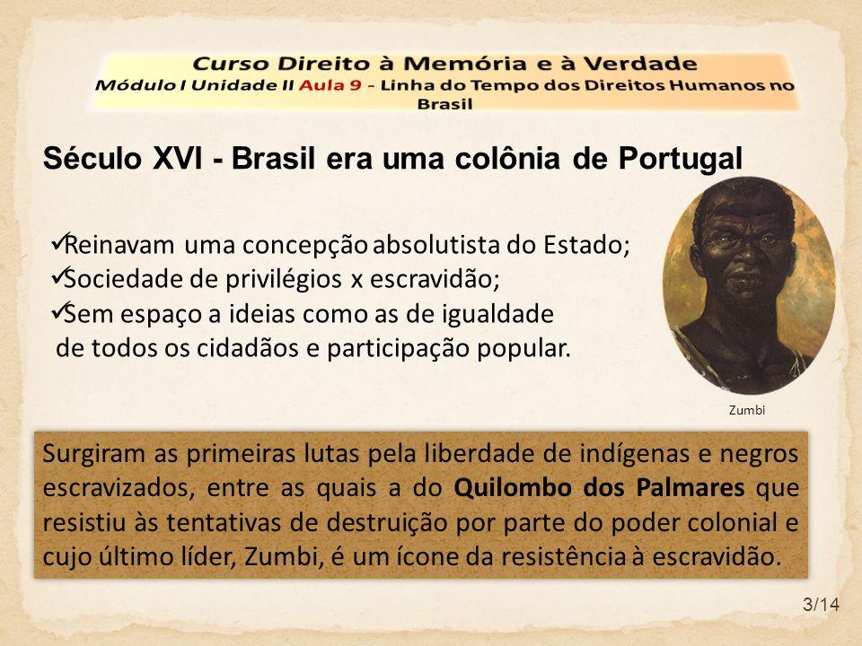 3/14 Século XVI - Brasil era uma colônia de Portugal Reinavam uma concepção absolutista do Estado; Sociedade de privilégios x escravidão; Sem espaço a ideias como as de igualdade de todos os cidadãos e participação popular.