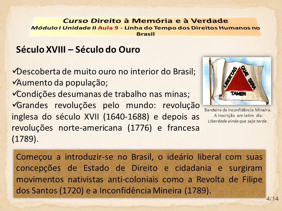 Século XVIII – Século do Ouro Começou a introduzir-se no Brasil, o ideário liberal com suas concepções de Estado de Direito e cidadania e surgiram mov