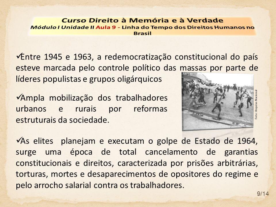 9/14 Entre 1945 e 1963, a redemocratização constitucional do país esteve marcada pelo controle político das massas por parte de líderes populistas e g