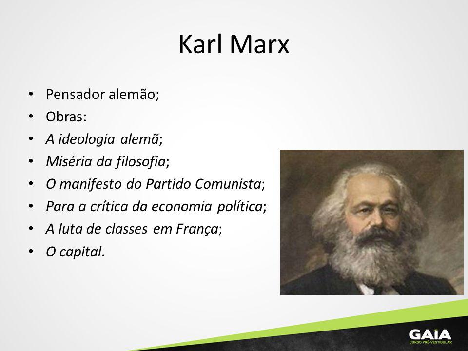 Karl Marx Pensador alemão; Obras: A ideologia alemã; Miséria da filosofia; O manifesto do Partido Comunista; Para a crítica da economia política; A lu