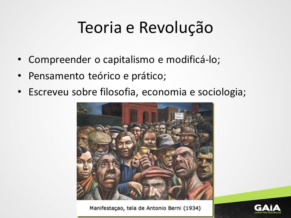 Teoria e Revolução Compreender o capitalismo e modificá-lo; Pensamento teórico e prático; Escreveu sobre filosofia, economia e sociologia;
