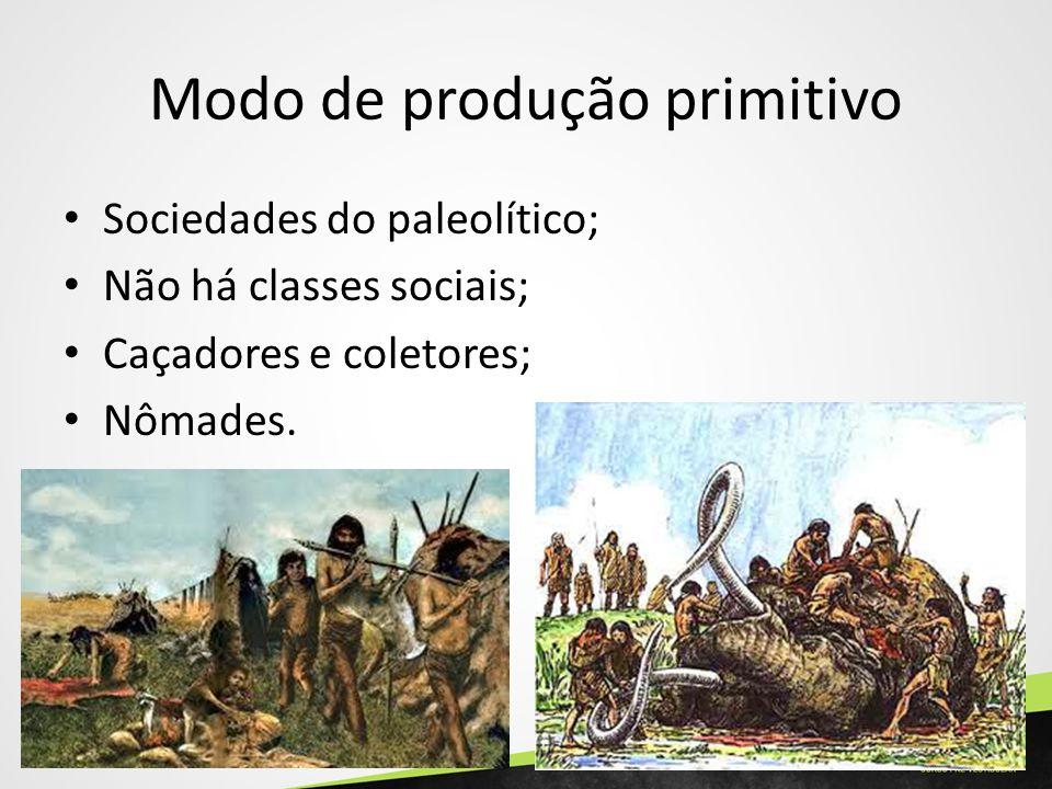 Modo de produção primitivo Sociedades do paleolítico; Não há classes sociais; Caçadores e coletores; Nômades.