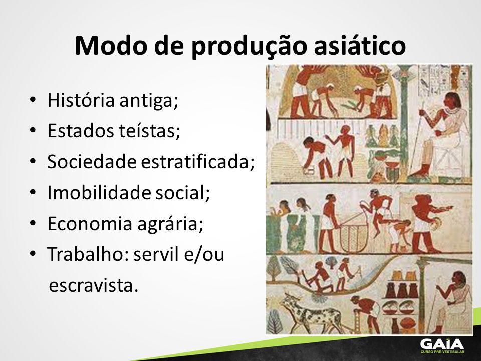 Modo de produção asiático História antiga; Estados teístas; Sociedade estratificada; Imobilidade social; Economia agrária; Trabalho: servil e/ou escra
