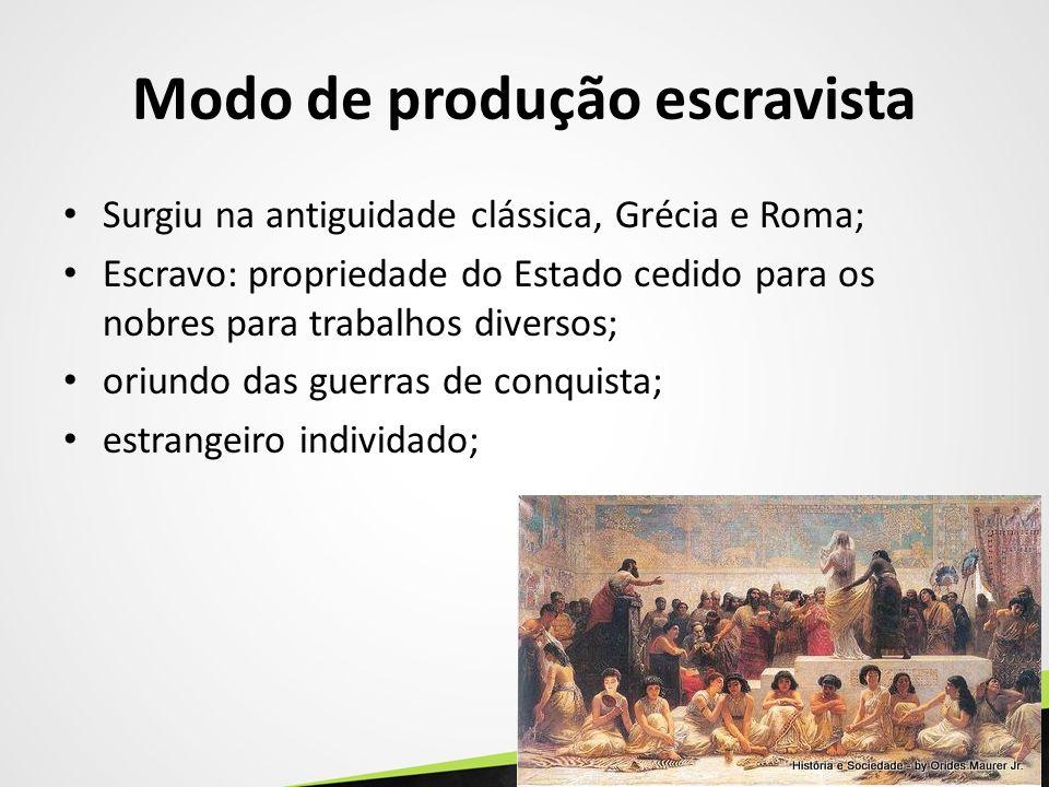 Modo de produção escravista Surgiu na antiguidade clássica, Grécia e Roma; Escravo: propriedade do Estado cedido para os nobres para trabalhos diverso