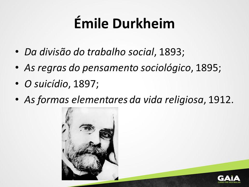 Émile Durkheim Da divisão do trabalho social, 1893; As regras do pensamento sociológico, 1895; O suicídio, 1897; As formas elementares da vida religio