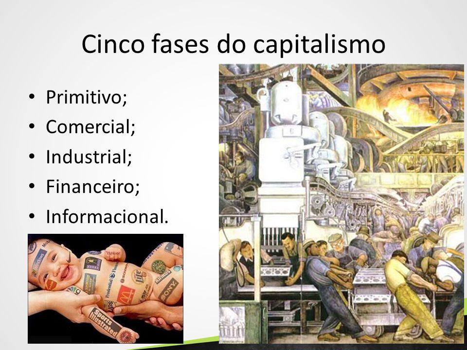 Cinco fases do capitalismo Primitivo; Comercial; Industrial; Financeiro; Informacional.