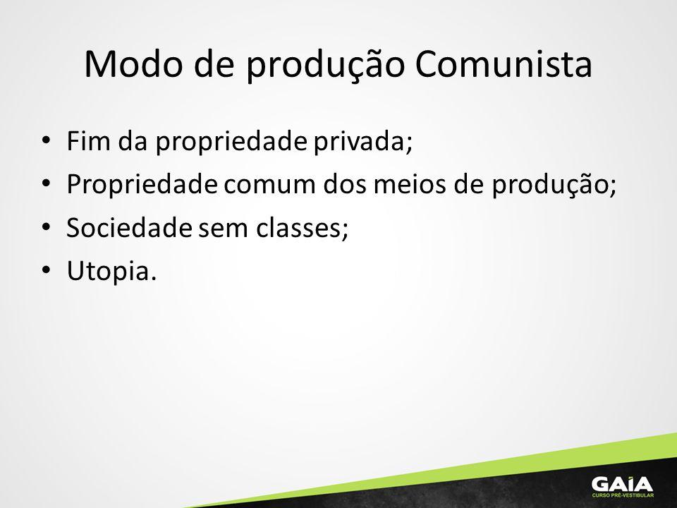 Modo de produção Comunista Fim da propriedade privada; Propriedade comum dos meios de produção; Sociedade sem classes; Utopia.