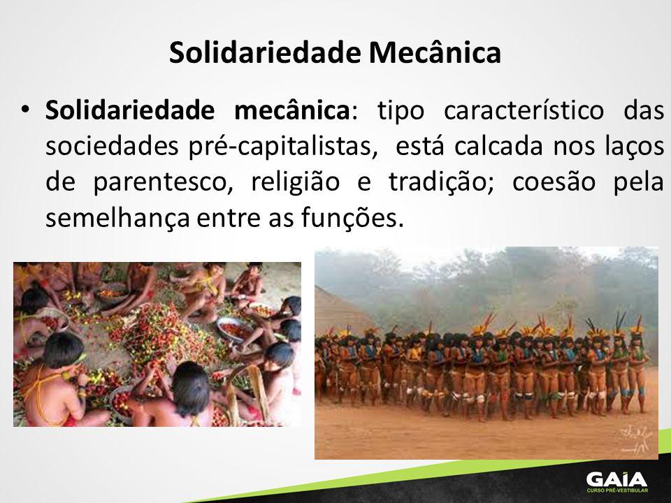 Solidariedade Mecânica Solidariedade mecânica: tipo característico das sociedades pré-capitalistas, está calcada nos laços de parentesco, religião e t