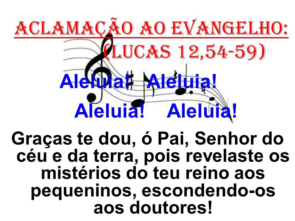 ACLAMAÇÃO AO EVANGELHO: (Lucas 12,54-59) Aleluia! Aleluia! Graças te dou, ó Pai, Senhor do céu e da terra, pois revelaste os mistérios do teu reino ao