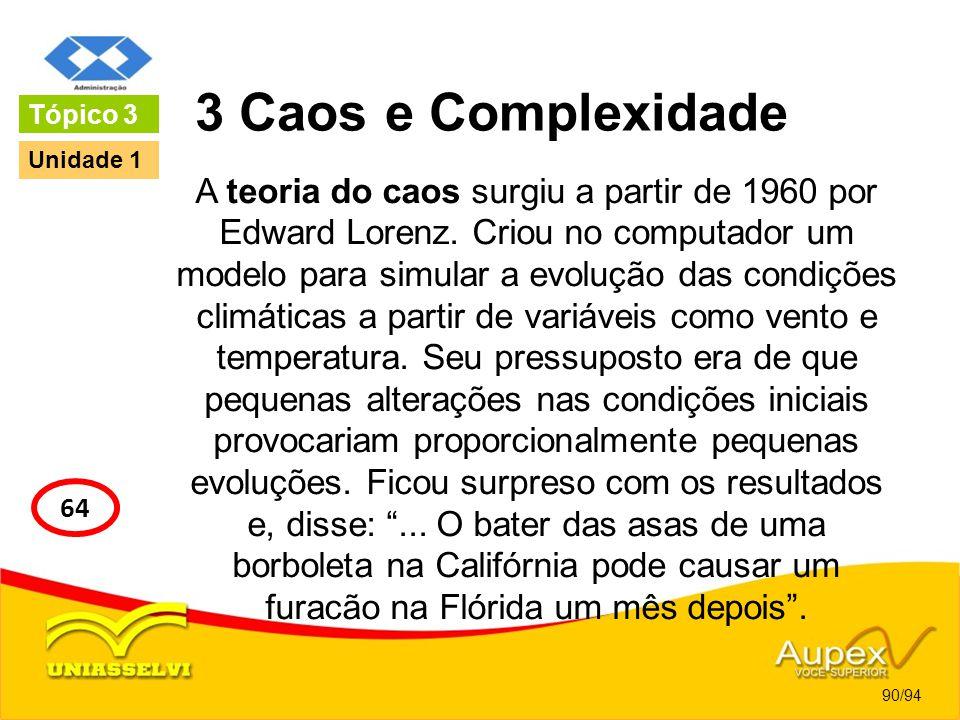 3 Caos e Complexidade A teoria do caos surgiu a partir de 1960 por Edward Lorenz. Criou no computador um modelo para simular a evolução das condições