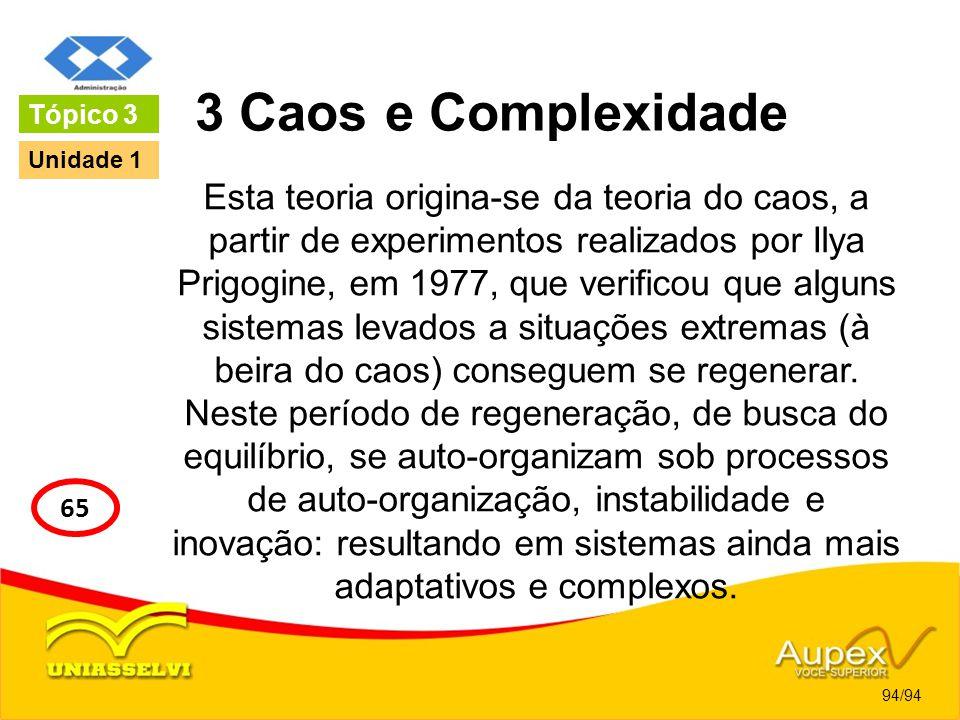 3 Caos e Complexidade Esta teoria origina-se da teoria do caos, a partir de experimentos realizados por Ilya Prigogine, em 1977, que verificou que alg
