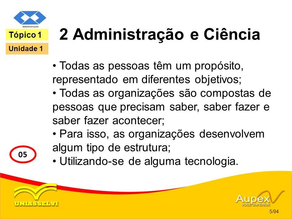 2 Administração e Ciência Todas as pessoas têm um propósito, representado em diferentes objetivos; Todas as organizações são compostas de pessoas que