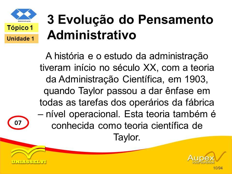 3 Evolução do Pensamento Administrativo A história e o estudo da administração tiveram início no século XX, com a teoria da Administração Científica,