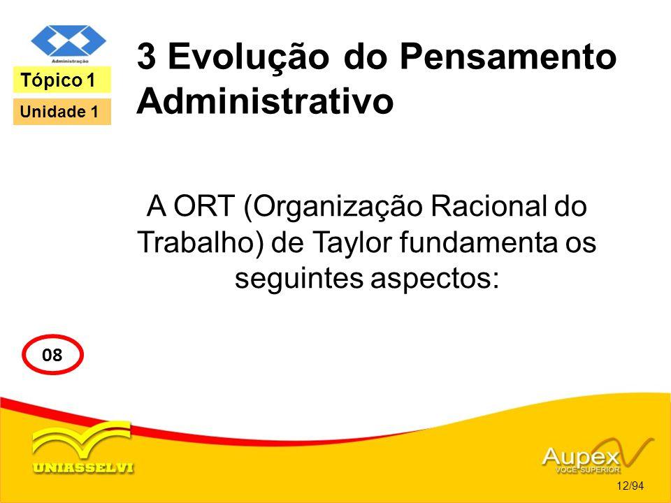 3 Evolução do Pensamento Administrativo A ORT (Organização Racional do Trabalho) de Taylor fundamenta os seguintes aspectos: 12/94 Tópico 1 08 Unidade