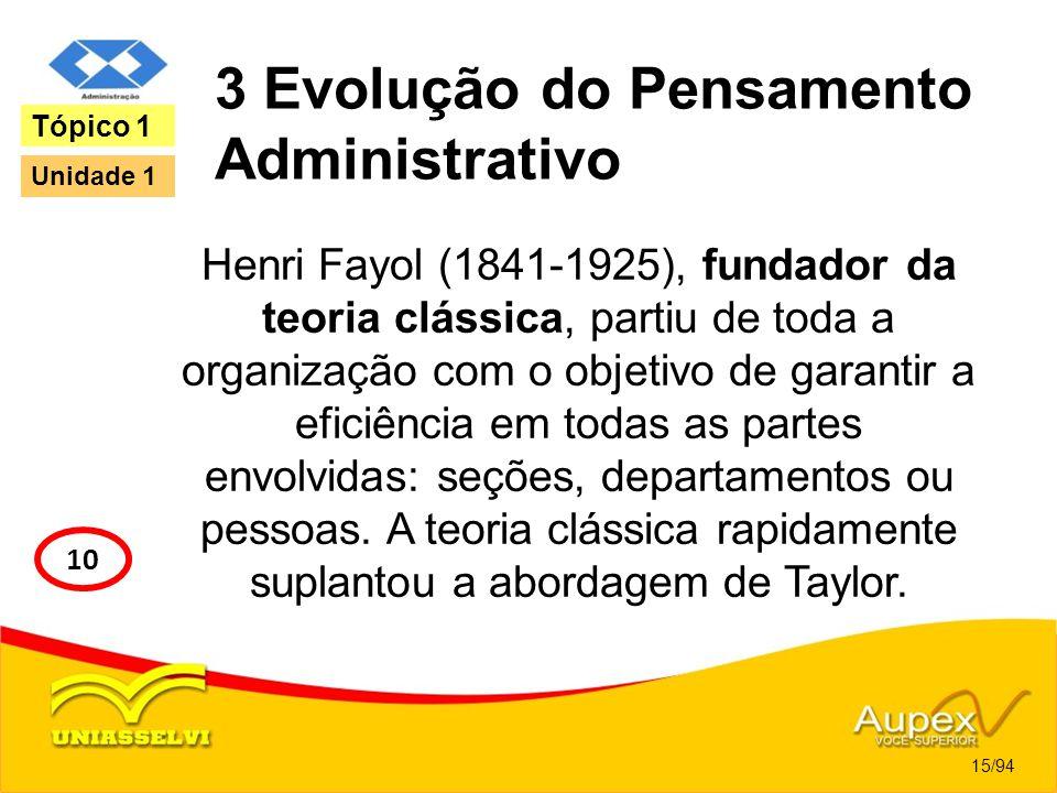 3 Evolução do Pensamento Administrativo Henri Fayol (1841-1925), fundador da teoria clássica, partiu de toda a organização com o objetivo de garantir