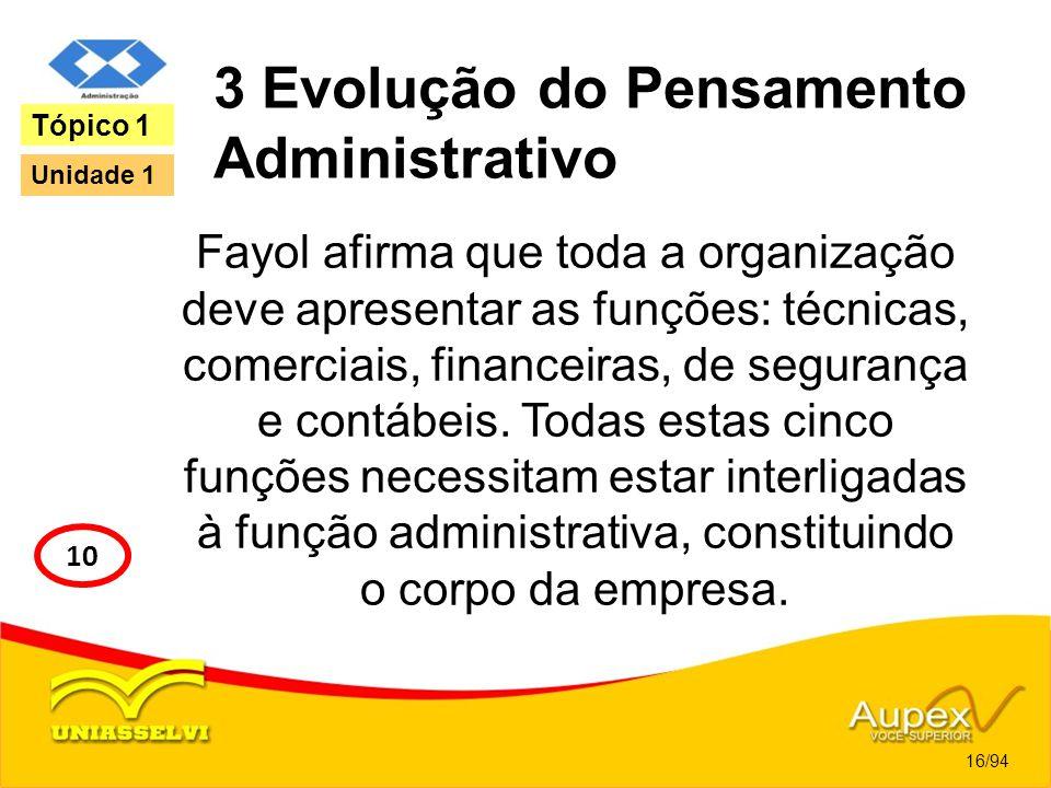 3 Evolução do Pensamento Administrativo Fayol afirma que toda a organização deve apresentar as funções: técnicas, comerciais, financeiras, de seguranç
