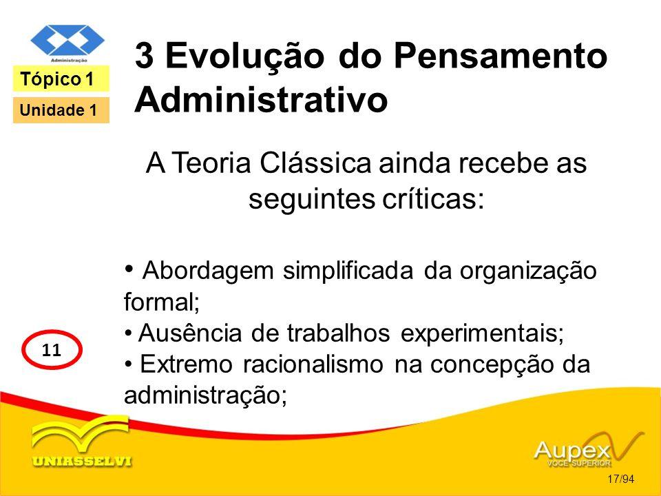 3 Evolução do Pensamento Administrativo A Teoria Clássica ainda recebe as seguintes críticas: Abordagem simplificada da organização formal; Ausência d