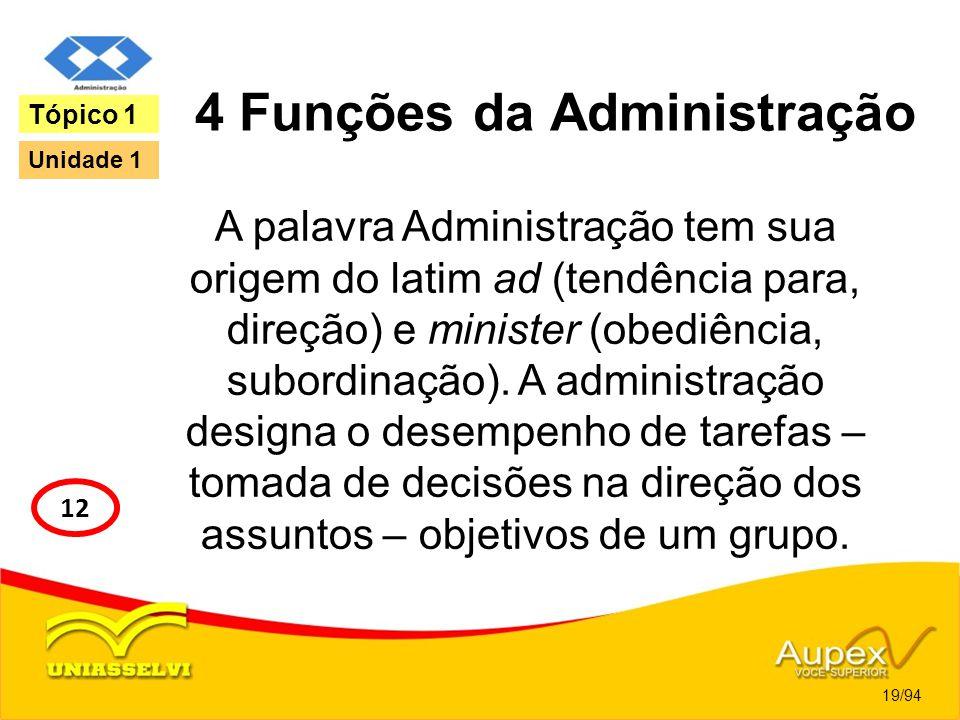 4 Funções da Administração A palavra Administração tem sua origem do latim ad (tendência para, direção) e minister (obediência, subordinação). A admin