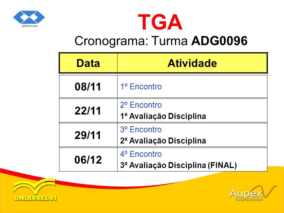Cronograma: Turma ADG0096 TGA DataAtividade 08/11 1º Encontro 29/11 3º Encontro 2ª Avaliação Disciplina 06/12 4º Encontro 3ª Avaliação Disciplina (FIN