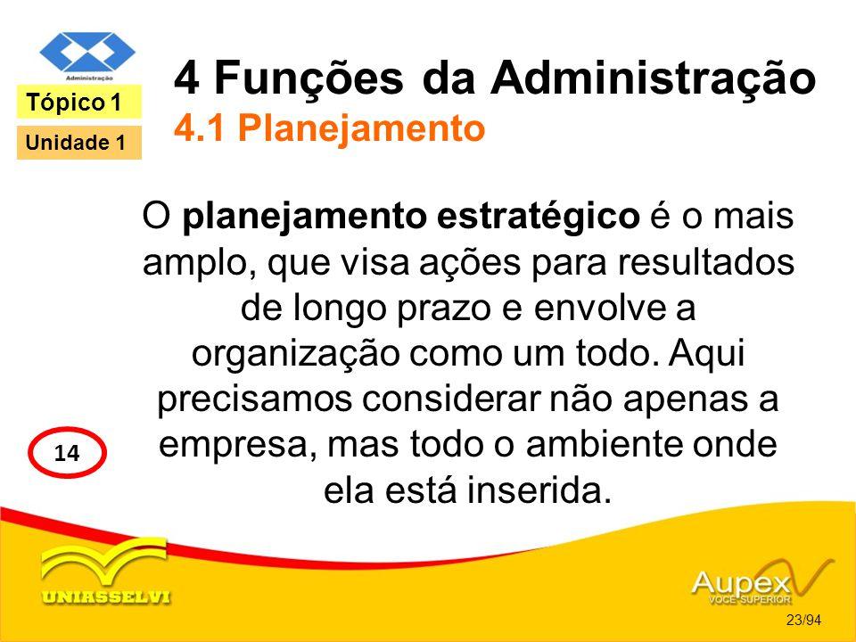 4 Funções da Administração 4.1 Planejamento O planejamento estratégico é o mais amplo, que visa ações para resultados de longo prazo e envolve a organ
