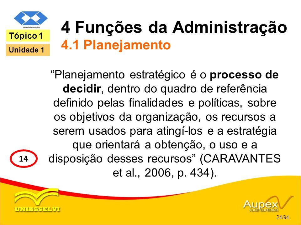4 Funções da Administração 4.1 Planejamento Planejamento estratégico é o processo de decidir, dentro do quadro de referência definido pelas finalidade