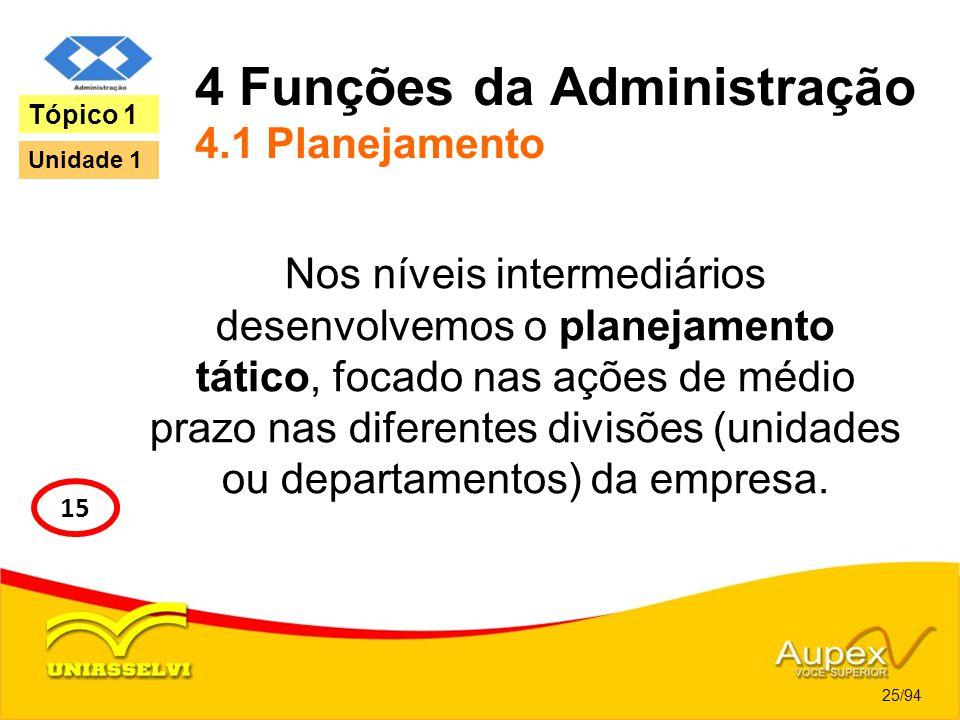 4 Funções da Administração 4.1 Planejamento Nos níveis intermediários desenvolvemos o planejamento tático, focado nas ações de médio prazo nas diferen