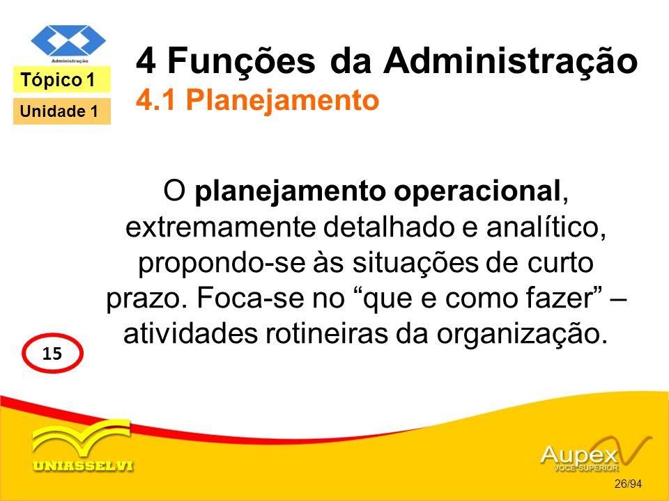 4 Funções da Administração 4.1 Planejamento O planejamento operacional, extremamente detalhado e analítico, propondo-se às situações de curto prazo. F