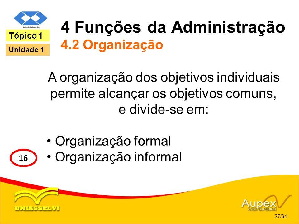 4 Funções da Administração 4.2 Organização A organização dos objetivos individuais permite alcançar os objetivos comuns, e divide-se em: Organização f