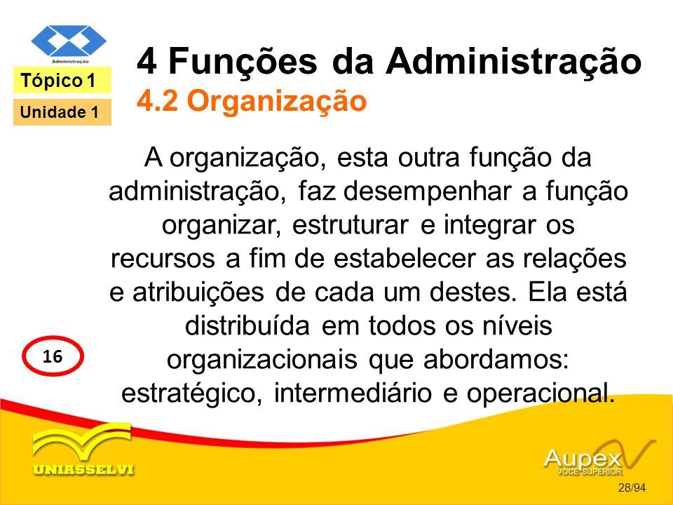 4 Funções da Administração 4.2 Organização A organização, esta outra função da administração, faz desempenhar a função organizar, estruturar e integra