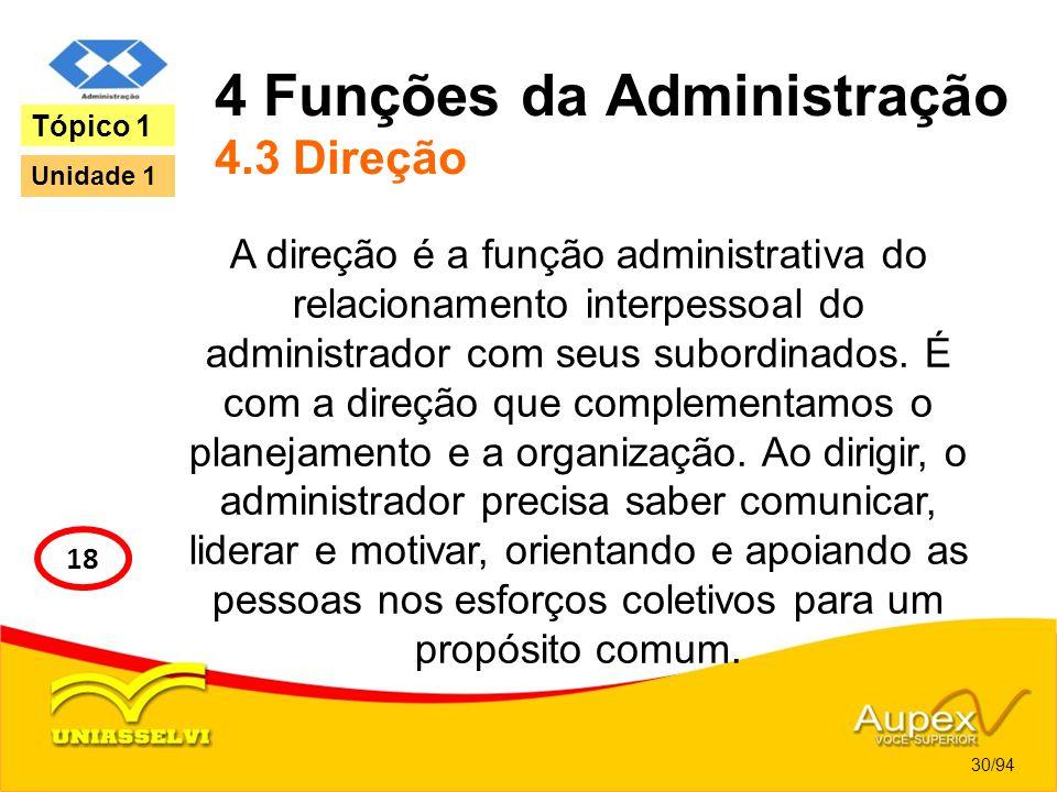 4 Funções da Administração 4.3 Direção A direção é a função administrativa do relacionamento interpessoal do administrador com seus subordinados. É co