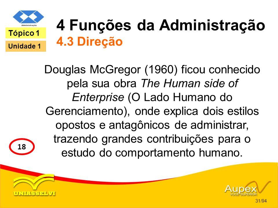 4 Funções da Administração 4.3 Direção Douglas McGregor (1960) ficou conhecido pela sua obra The Human side of Enterprise (O Lado Humano do Gerenciame