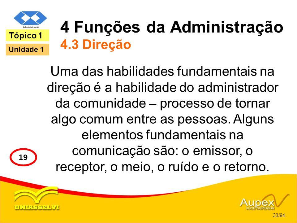 4 Funções da Administração 4.3 Direção Uma das habilidades fundamentais na direção é a habilidade do administrador da comunidade – processo de tornar