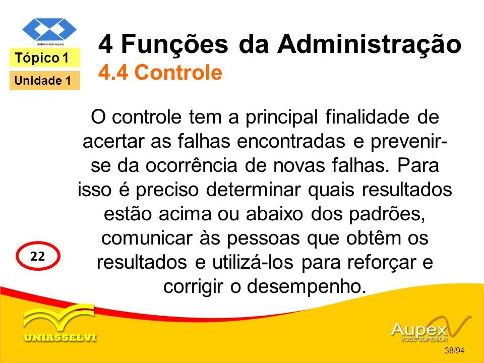 4 Funções da Administração 4.4 Controle O controle tem a principal finalidade de acertar as falhas encontradas e prevenir- se da ocorrência de novas f