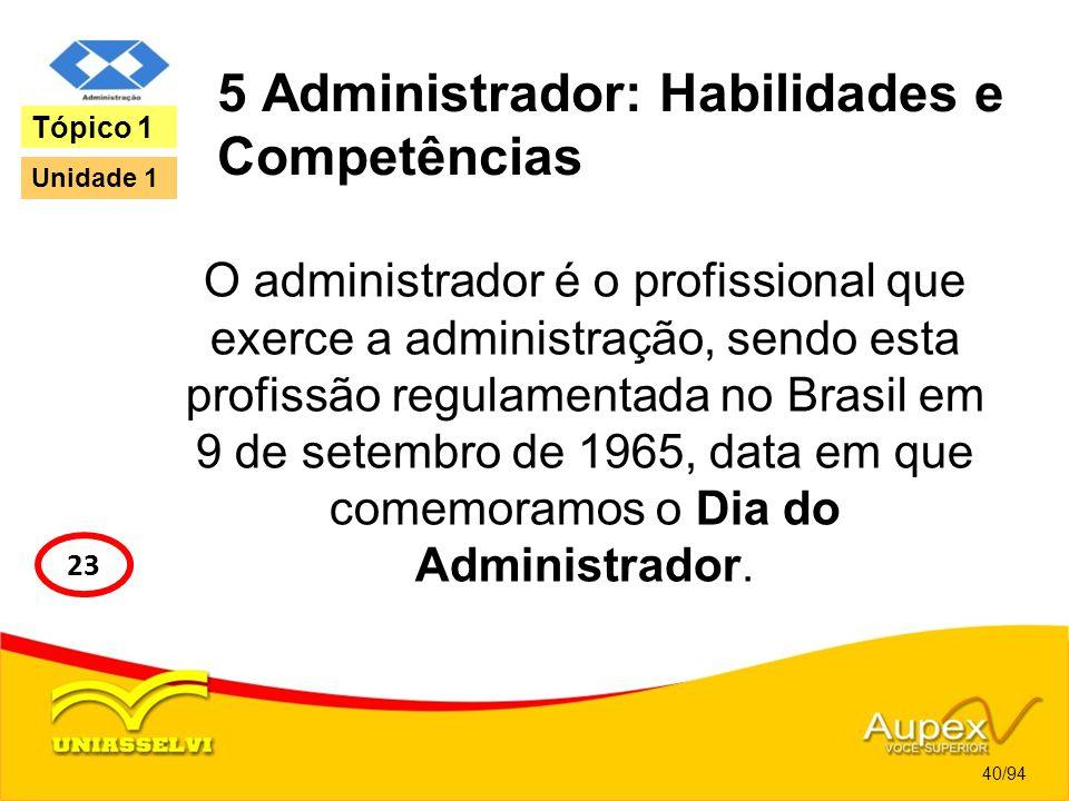 5 Administrador: Habilidades e Competências O administrador é o profissional que exerce a administração, sendo esta profissão regulamentada no Brasil