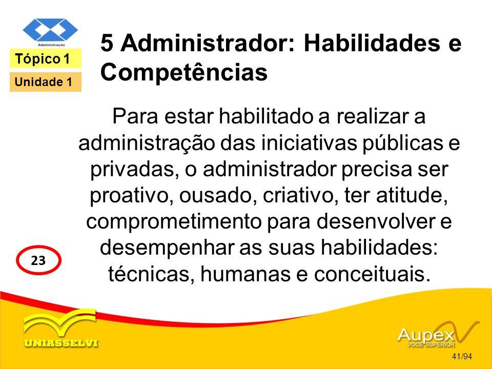5 Administrador: Habilidades e Competências Para estar habilitado a realizar a administração das iniciativas públicas e privadas, o administrador prec