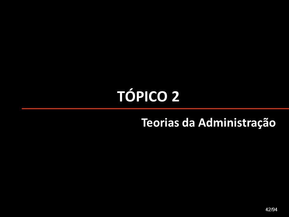 TÓPICO 2 42/94 Teorias da Administração