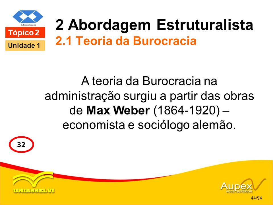 2 Abordagem Estruturalista 2.1 Teoria da Burocracia A teoria da Burocracia na administração surgiu a partir das obras de Max Weber (1864-1920) – econo