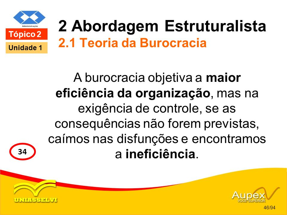 2 Abordagem Estruturalista 2.1 Teoria da Burocracia A burocracia objetiva a maior eficiência da organização, mas na exigência de controle, se as conse