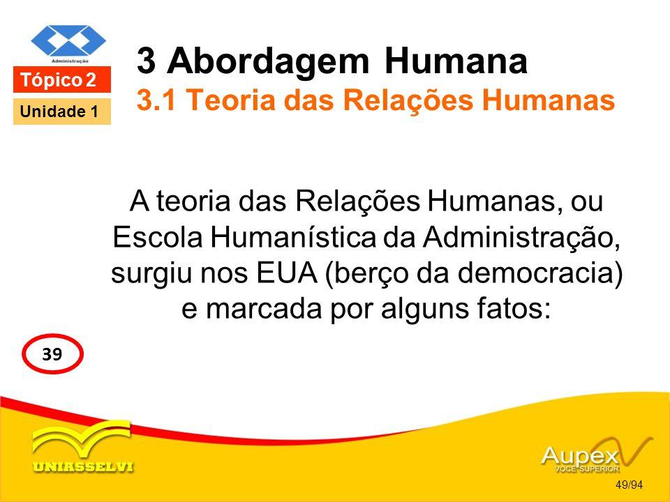 3 Abordagem Humana 3.1 Teoria das Relações Humanas A teoria das Relações Humanas, ou Escola Humanística da Administração, surgiu nos EUA (berço da dem