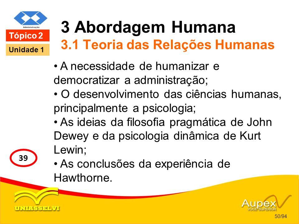 3 Abordagem Humana 3.1 Teoria das Relações Humanas A necessidade de humanizar e democratizar a administração; O desenvolvimento das ciências humanas,